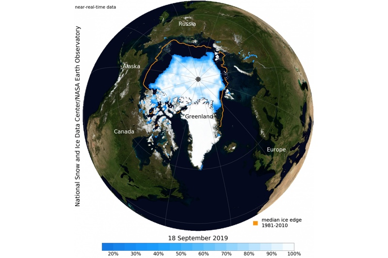 arctic ice extent sept 2019