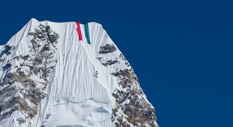 Giant Flag on Ama Dablam